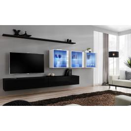 ASM Obývací stěna SWITCH XVII, černá a bílá matná/černý a bílý lesk