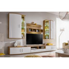 ASM Obývací stěna Jelly, woton/bílý lesk