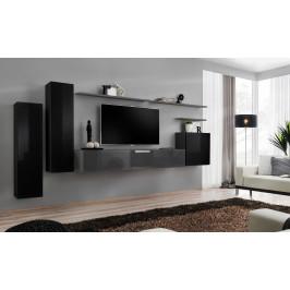 ASM Obývací stěna SWITCH I, černá a grafit matná/černý a grafit lesk