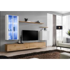 ASM Obývací stěna SWITCH XII, bílá matná a wotan/bílý lesk a wotan