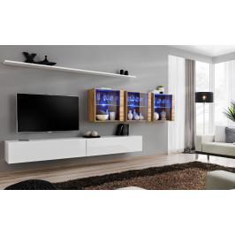 ASM Obývací stěna SWITCH XVII, bílá matná a wotan/bílý lesk a wotan