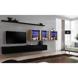 ASM Obývací stěna SWITCH XVII, černá matná a wotan/černý lesk a wotan