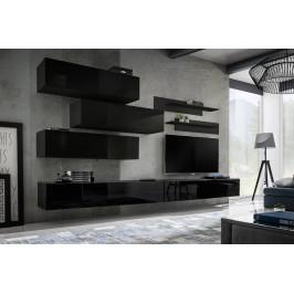 ASM Obývací stěna FLY K1, černá matná/černý lesk