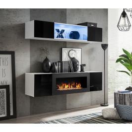 ASM Obývací stěna FLY N3, bílá matná/černý lesk
