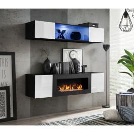 ASM Obývací stěna FLY N3, černá matná/bílý lesk