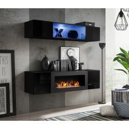 ASM Obývací stěna FLY N3, černá matná/černý lesk