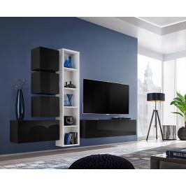 ASM Obývací stěna BLOX III, černá a bílá matná/černý lesk