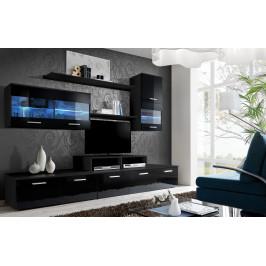 ASM Obývací stěna LOGO II, černá matná, dvířka - černý lesk
