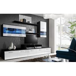 ASM Obývací stěna LOGO II, černá matná/bílá lesk