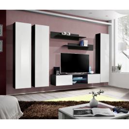 ASM Obývací stěna FLY P, černá matná/bílý lesk