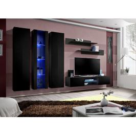 ASM Obývací stěna FLY P, černá matná/černý lesk