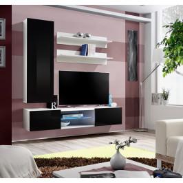 ASM Obývací stěna FLY S, bílá matná/černý lesk