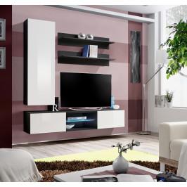 ASM Obývací stěna FLY S, černá matná/bílý lesk