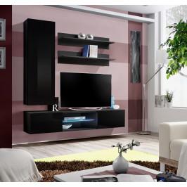 ASM Obývací stěna FLY S, černá matná/černý lesk