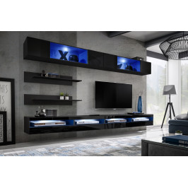 ASM Obývací stěna FLY T, černá matná/černý lesk