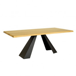 Drewmax Jídelní rozkládací stůl ST370 S160 masivní dub tmavý dub šedá matná