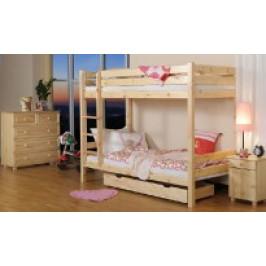 Eoshop Dřevěná postel Patrová 90x200 + rošty ZDARMA bílá