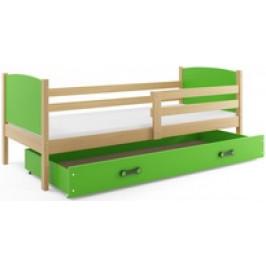 b2b1 BMS-group Dětská postel TAMI 1 90x200 cm, borovice/zelená Pěnová matrace
