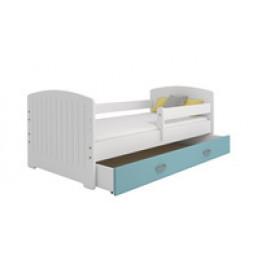 Eoshop Dětská postel Miki 80x160 B5, bílá/modrá + rošt, matrace, úložný prostor