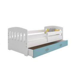 Eoshop Dětská postel Miki 80x160 B6, bílá/modrá + rošt, matrace, úložný prostor