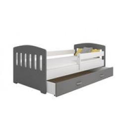 Eoshop Dětská postel Miki 80x160 B6, šedá/šedá + rošt, matrace, úložný prostor