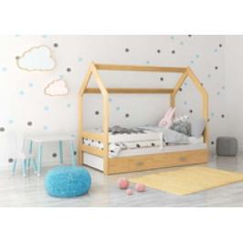Eoshop Dětská postel Domek 80x160 cm D3, rošt ZDARMA - borovice s matrací růžová bílá