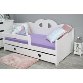 Maxi-Drew Dětská postel Tosia 80x160 borovice, bílá, rošt a úložný prostor