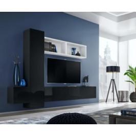 ASM Obývací stěna BLOX XIII, bílá matná, černá matná / černý lesk