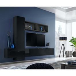 ASM Obývací stěna BLOX XIII, černá matná / černý lesk