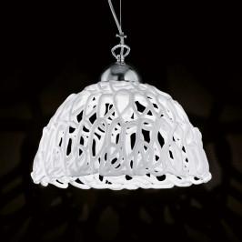 Bílé skleněné závěsné světlo Cobweb, 32 cm