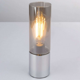 Stolní lampa Annika, chromovaná kouřově šedá