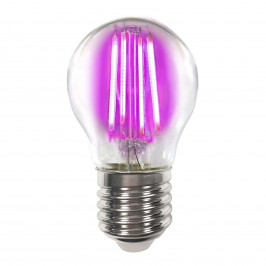 Barevná E27 4W LED žárovka Filament, růžová
