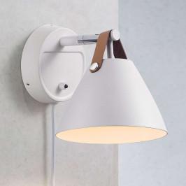 Nástěnné světlo Strap s koženým páskem, bílé