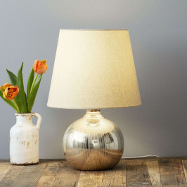 Stolní lampa Ely skeramickou nohou ve zlaté barvě