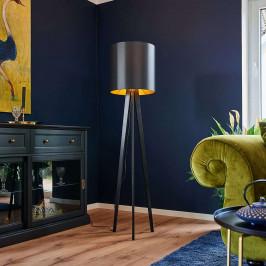 Dřevěná stojací lampa Nida černozlaté stínidlo