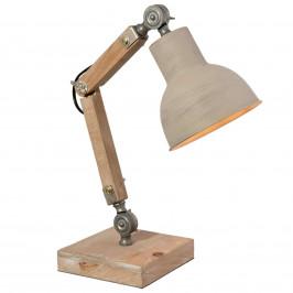 Dřevěná stolní lampa Ian v industriálním stylu