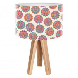 Retro stolní lampa Sylke s potištěným stínidlem