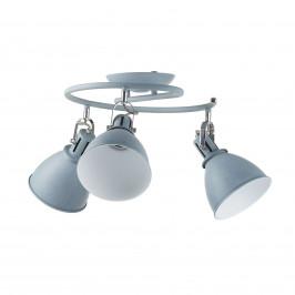 Šedý stropní spot Jonas, 3bodový ve tvaru spirály