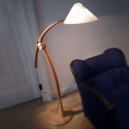 Stojací lampa Pollo E27 v buku, stmívatelná