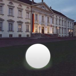 Kulové světlo Snowball bílé, noha hliník 80 cm