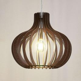 Dřevěné závěsné světlo Sina ve tvaru balónu tmavé