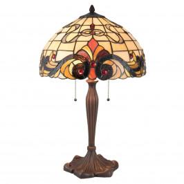 Stolní lampa 5925 v Tiffany stylu, krémově červená