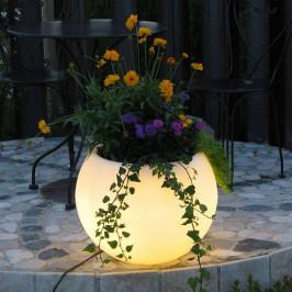 LED květináč Flora s baterií, 50 cm, bílé LED