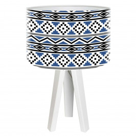 Dřevěná stolní lampa Kiano s potištěným stínidlem