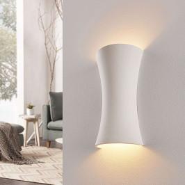 Bílé sádrové nástěnné světlo Edon, konkávní, 36 cm