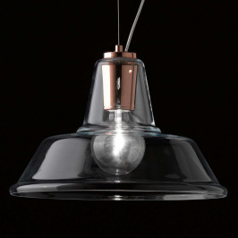 Skleněné závěsné světlo Lampara s prvkem v mědi
