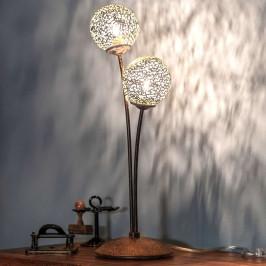 Stolní lampa Greta vrezavém designu, dvouramenná