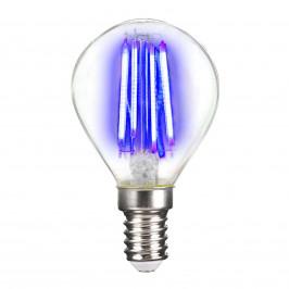 LED žárovka E14 4W Filament, modrá