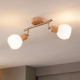 LED Spot Svenka v dřevěném vzhledu, 2bodový