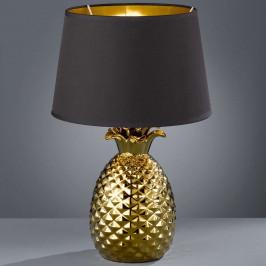 Zlatočerná textilní stolní lampa Pineapple, 45 cm